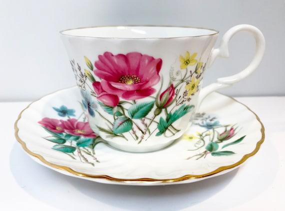 Royal Stuart Tea Cup and Saucer, Floral Tea Cups, English Teacups, Antique Teacups, Bone China Cups, Antique Tea Cups Vintage