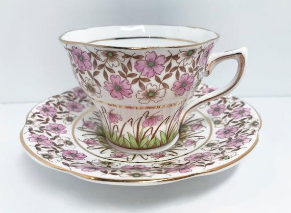 Rosina Tea Cup and Saucer, Bone China Teacup, English Teacups, Floral Tea Cups, English Bone China Cups, Pink Floral Teacup