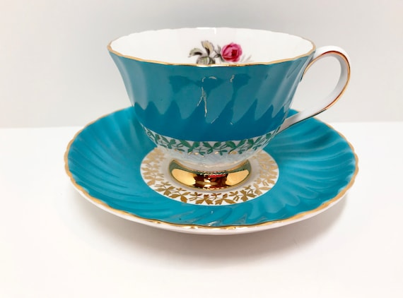 Royal Adderley Tea Cup, English Bone China, Turquoise Teacups, Turquoise Gold Tea Cups, Antique Teacups Vintage, Antique Tea Cups Vintage
