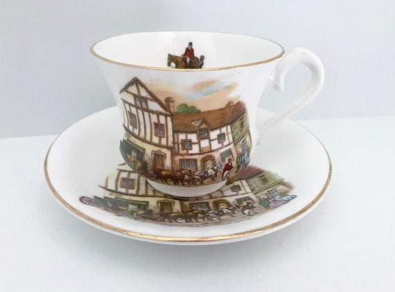 Old Coach House, York England, Royal Stanley Teacup and Saucer, Antique Teacups Vintage, Teatime, Friendship Cup, English Tea Cups Vintage