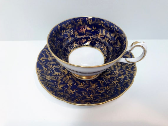 Gorgeous Grosvenor Teacup and Saucer, Navy Gold Teacups, Antique Teacups Vintage, Antique Tea Cups Vintage, English Teacups