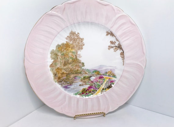 Shelley 10 inch Plate, Heather Pattern, Shelley China, Pink Heather Plate, Shelley Heather, Oleander Shape, Serving Plate