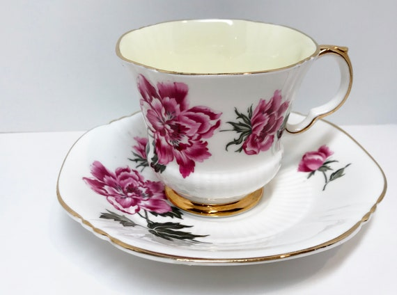 Adderley Tea Cup and Saucer, Antique Tea Cups Vintage, Floral Tea Cups, English Bone China Cups, Friendship Cup