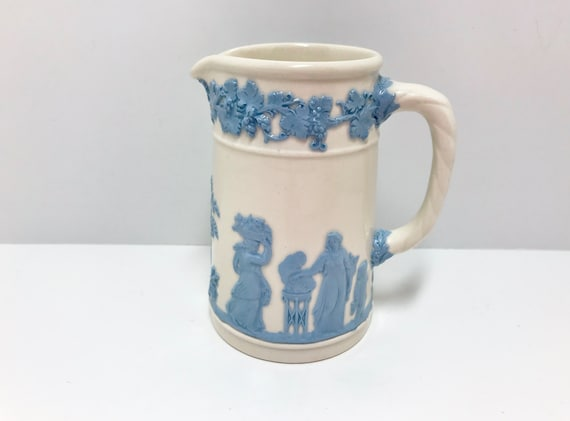 Wedgwood Pitcher, White Wedgwood Creamer, Wedgwood of England, Wedgwood Queensware, Blue White Pitcher, Blue White Ware, Made in England