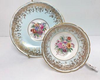Artist Signed Coalport Teacup and Saucer, Vintage Tea Cups, Aqua Gold Cups, English Bone China, Hand Painted Teacup, Vintage Teacups