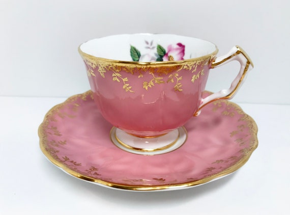 Pink Aynsley Tea Cup and Saucer, Antique Tea Cups Vintage, English Bone China Tea Cups, Pink Teacups, Antique Teacups Vintage, Teatime Cups