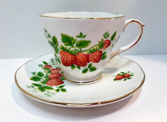 Strawberry Teacup,  Duchess Teacup and Saucer, English Bone China, English Teacups, Antique Teacups Vintage, Antique Tea Cups Vintage