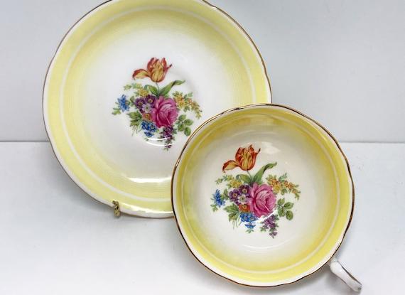Yellow Royal Grafton Teacup and Saucer, Floral Teacups, English Tea Cups, Vintage Teacups, Yellow Teacups, Teatime Teacups