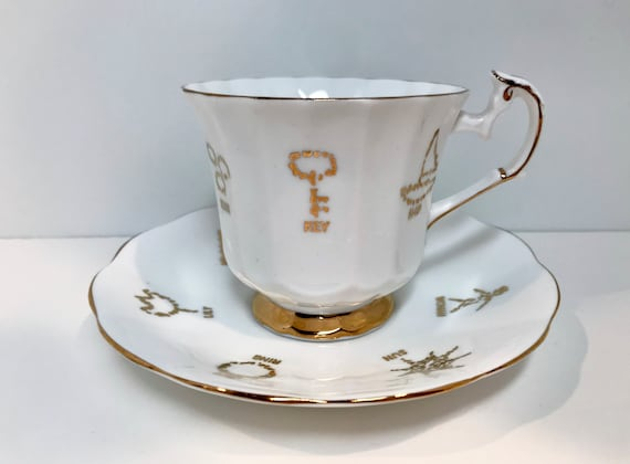 Cup of Fortune, Red Rose Tea Cup, Taylor and Kent, Fortune Telling Symbols, Good Fortune Tea Cup