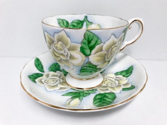 Tuscan Tea Cup, Hawaiian Flowers Series, Gardenia Pattern, Gardenia Tea Cup, Floral Tea Cups, Gardenia Teacup, Tuscan Teacup