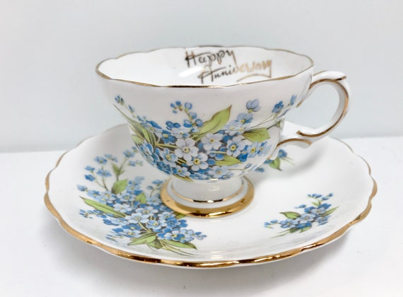Forget Me Knot Teacup and Saucer by Rosina Bone China, Anniversary Teacup, Rosina Tea Cups, Vintage Tea Cups, Vintage Teacups