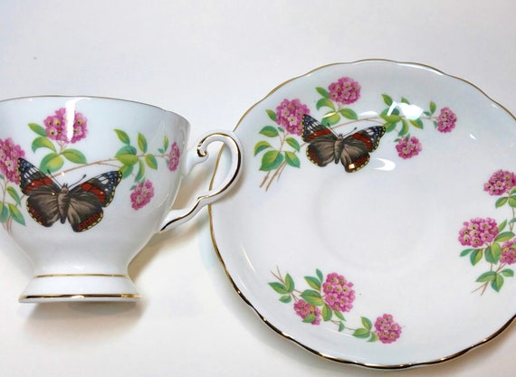 Butterfly Teacup, Royal Chelsea Tea Cup and Saucer, Butterfly Tea Cup, Antique Tea Cups Vintage, English China Cups, Butterfly Cups