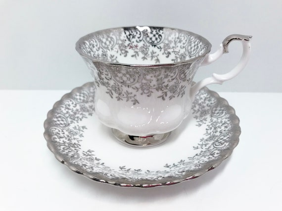 Silver Royal Albert Teacup, Montrose Shape, Antique Tea Cups Vintage, English China Cups, Wedding Teacup, Vintage Teacups