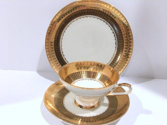 Gold Bavarian Plate Tea Cup and Saucer, Bavarian Tea Cups, Heinrich Winterling Trio, German Tea Cups, Bavarian Teacups, Bavarian Trio