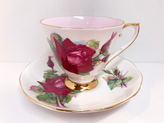 Roslyn Grand Gala Rose Tea Cup and Saucer, Harry Wheatcroft Roses, Artist Signed Teacup, Big Rose Teacup, English Teacup, Teatime Teacups