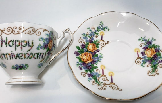 Wedding Anniversary Tea Cup and Saucer, Bone China Cup, Antique Tea Cups, Gold Tea Cups, Antique Teacups, 50th Anniversary, Queen Anne Cup
