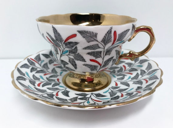 Gold Rosina Teacup and Saucer, Floral Teacups Vintage, Antique Teacups, Friendship Cup, Vintage Tea Cups, English Bone China Teacups