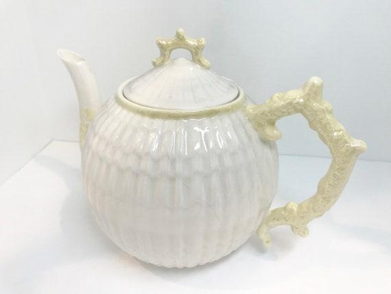 Belleek Limpet Teapot, Belleek Teapot, Irish Teapot, Belleek China, Irish Porcelain, Brown Mark Belleek, Limpet Teapot
