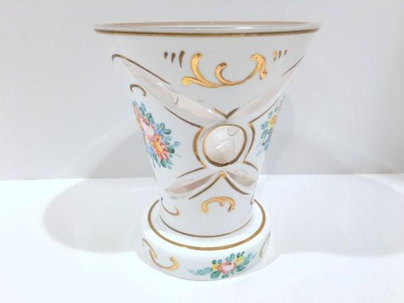 Cut to Clear White Vase, Cut Glass Vase, White Gold Vase, White Overlay Vase, Bohemian Glass, Collectible Vase, Glass Collectibles