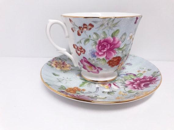 Glorious Garden Duchess Tea Cup and Saucer, English Bone China, Floral Teacups, Antique Teacups Vintage, Antique Tea Cups Vintage