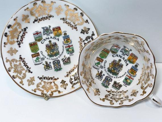 Canada Paragon Tea Cup and Saucer, Canadian Teacup, Canada Coat of Arms Cup, Antique Tea Cups Vintage, Canadian Shields Cup, Antique Teacups