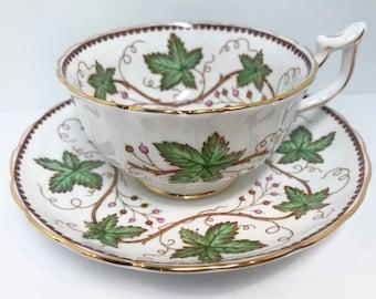 Hand Painted Royal Chelsea Tea Cup and Saucer, Vine Teacup, English Teacups, Bone China Cups, Tea Cups Vintage