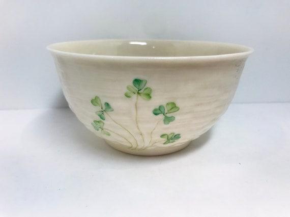 Reserved for SR, Shamrock Ware Belleek Bowl, Brown Mark Belleek, Irish Porcelain, Irish China, Irish Bowl, Made in Ireland, Belleek China