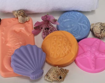 Sea Animals Bar Soap, Set of 5 Glycerin Soaps, Sea Mist Scented Soap Bars- Sea Themed Party,  Beach Homes, Summer Party, Adults & Kids Soap