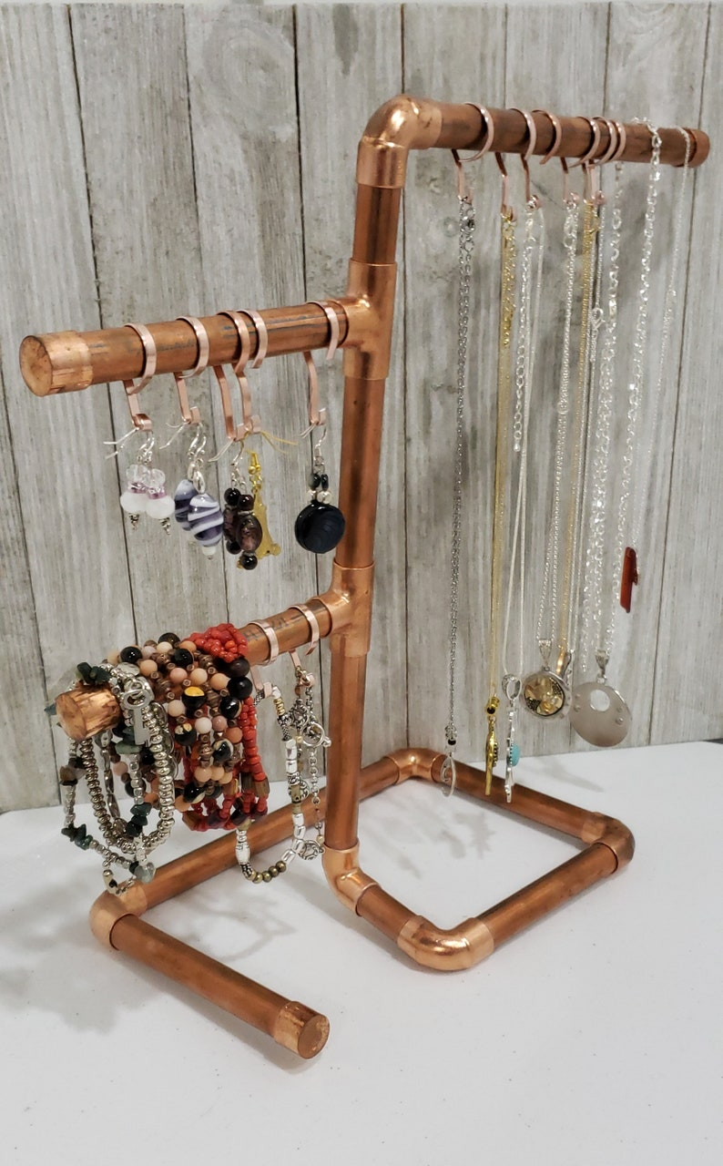 Handmade Jewelry Storage|Displays for Studios /& Craft Shows|10 FREE Hangers|FREE SHIPPING Copper Jewelry Stands