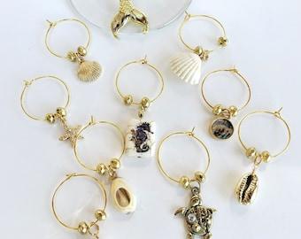 Enchanting Beach Charm Markers - Set of 10 Beige & Gold Charms - Mermaid Tail Charm, Seahorse Charm, Sea Turtle Charm,