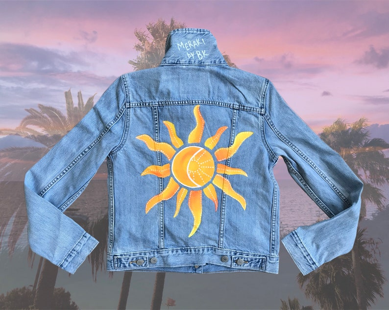 909338b93b Sun & Moon Hand Painted Denim Jacket