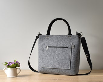 30b5bc5941 Elegant Felt Bag Purse Large Handbag Crossbody Tote Bag Gift For Her Shoulder  Bag Girl Women Light Gray Designer Handmade