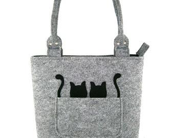 756f886531a Black cats Handbag Bag with black cats Felt purse Bag for | Etsy