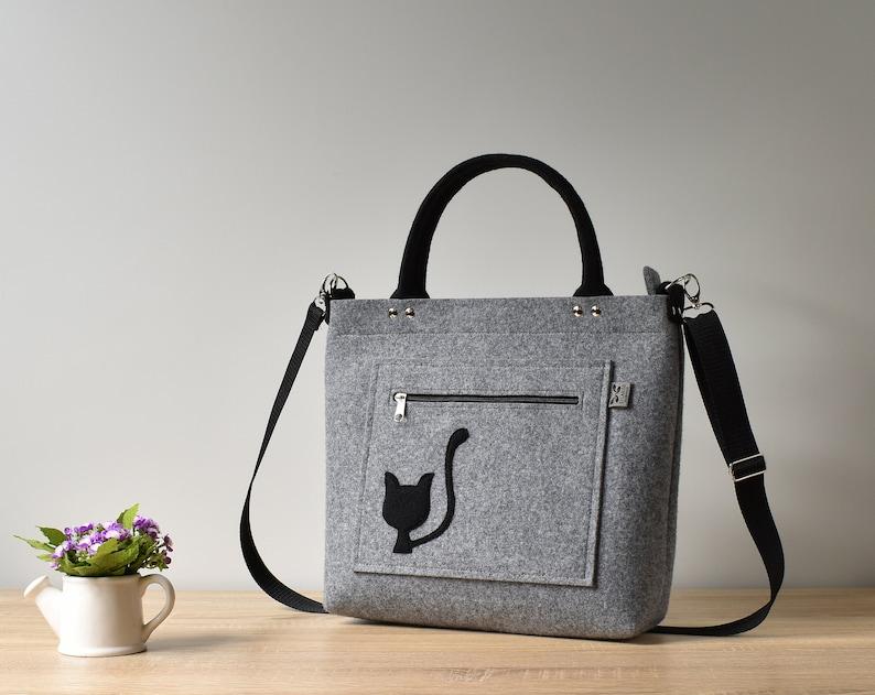 737054b14b1 Cat purse, large felt cat bag, cat lover gift, felt handbag, woman  crossbody bag