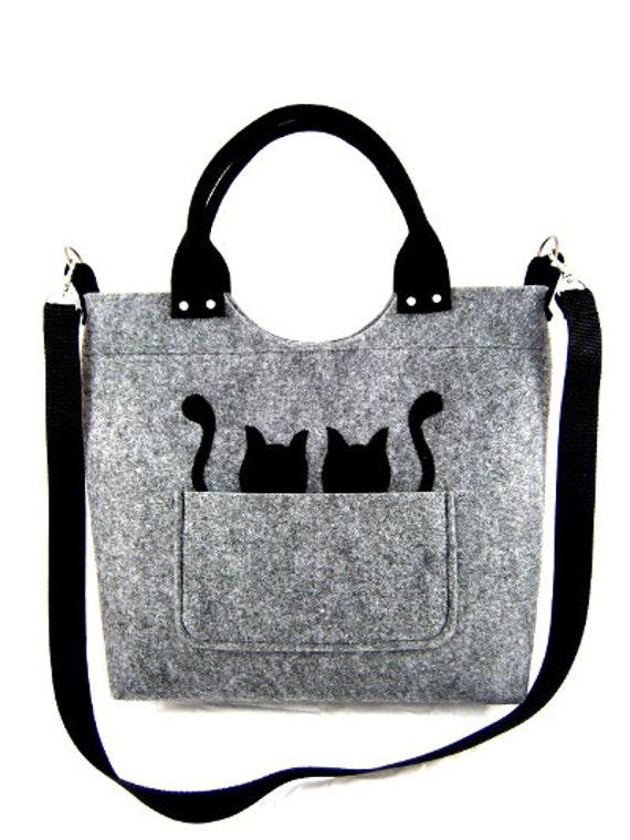 a6c2145a47f Black cats Handbag Bag with black cats Felt purse Bag for women Gray bag  Felt bag Designer handbag Felt shoulder bag Modern Large bag
