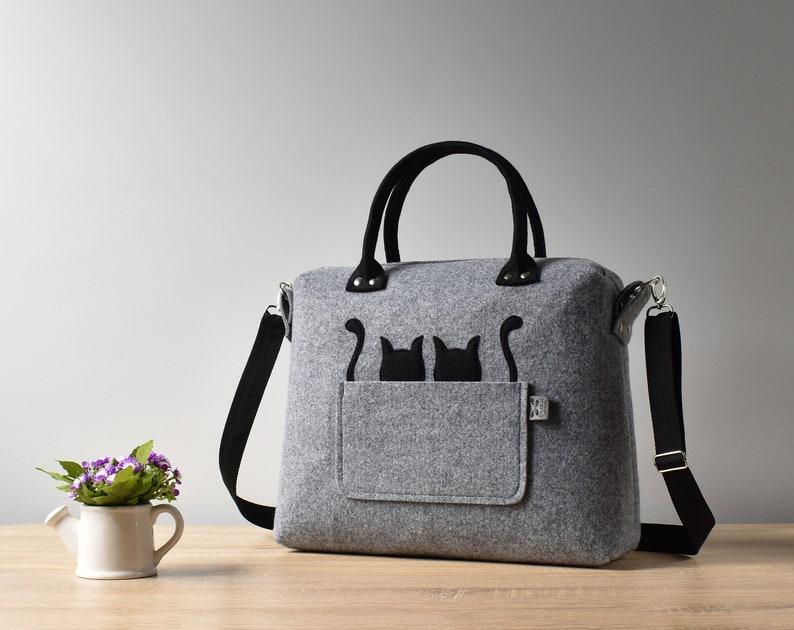 cef3258c9d6 Cat Bag Felt Bag Coffer Large Gift Kitty Kitten Pet Tote Purse Women  Handmade Handbag Shoulder Crossbody Bag