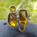 Large Sterling Silver &  Citrine Ring Size 8 1/4