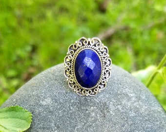 Sterling Silver and Lapis Lazuli Ring Size 7 3/4