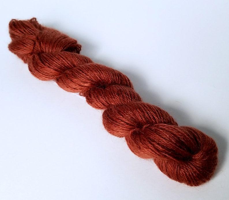 Wattlebark Garnet or Desert Sky Hand Dyed 2 oz 3 Ply Finger Weight 100/% Pygora Goat Yarn