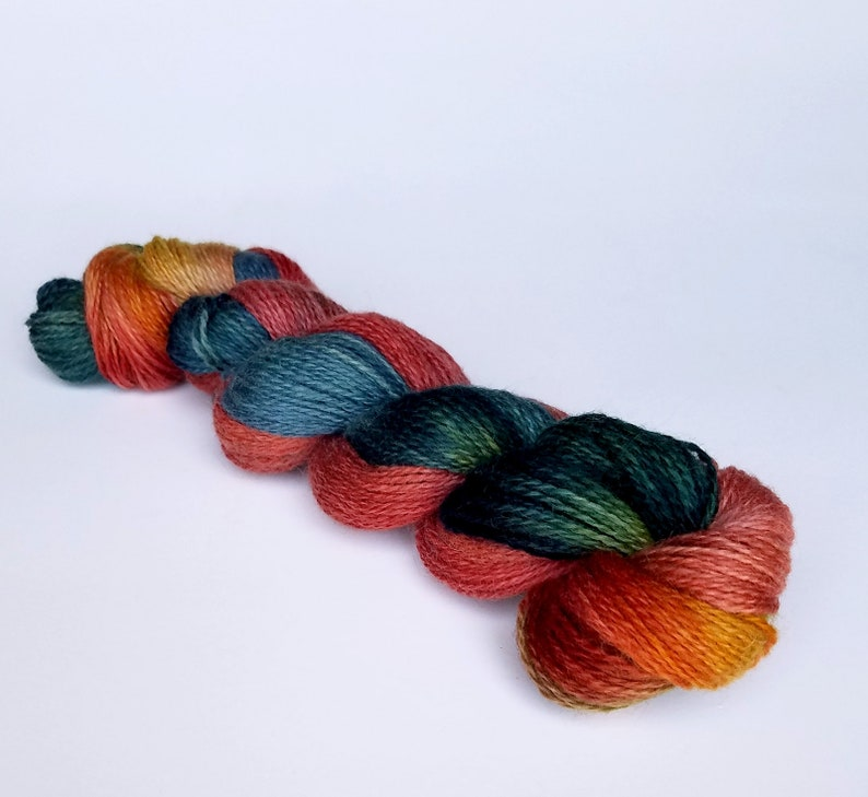 Sunset or Silver Birch Hand Dyed  2 oz 80/% Pygora Goat /& Merino Wool Blend Yarn 2 Ply Finger Weight