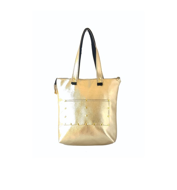 7a0bc4427a34 Gold tote bag vegan leather tote with big front pocket