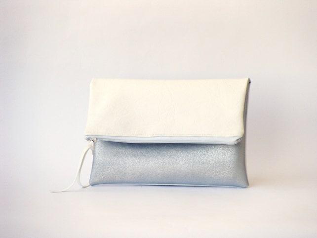 Weiße Vegan Foldover Kupplung Silber Leder Abend Handtasche   Etsy