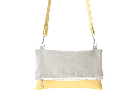 869a61706892 Small crossbody bag yellow and gray vegan leather and suede