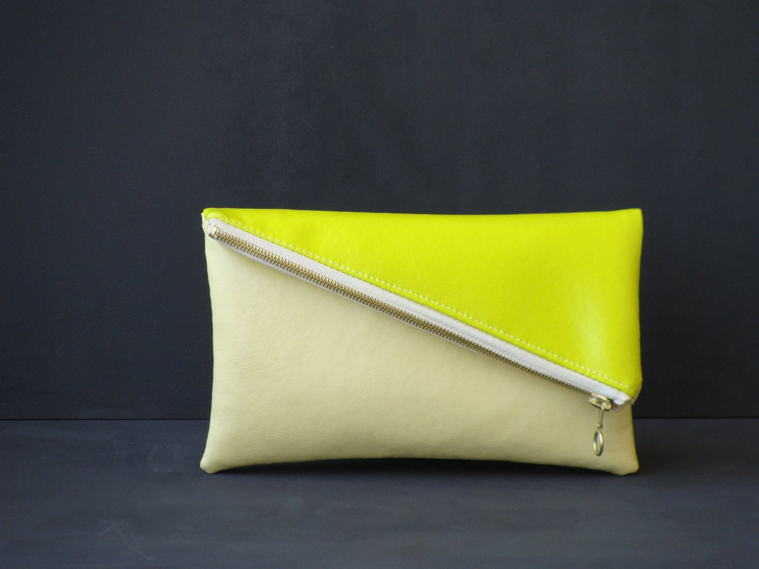 Neon yellow leather clutch fold over vegan leather clutch bag etsy jpg  1500x1125 Neon yellow clutch c79fec86e4955