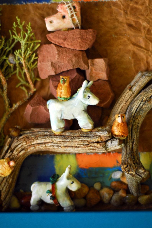 A Burro Diorama - Southwest display - totem - shadow box with donkeys -  Miniature animals - Western scene - beautiful donkey -