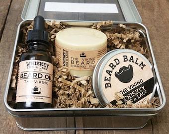 The Viking Beard Kit, Oakmoss & Pine Men's Grooming Kit - Beard Oil, Beard Shampoo Beard Balm, Beard Care Kit Gift for Men Best Husband Gift