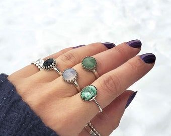 Round Amazonite /& silver minimalist tiny silver stackable ring for her Gift ideas Stacking ring Girlfriend gift Blue green stone ring Twist