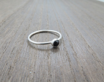 Genuine natural tiny round black Onyx gemstone silver ring Stackable, dainty, minimalist ring Birthday gift for her Stacking Solitaire ring