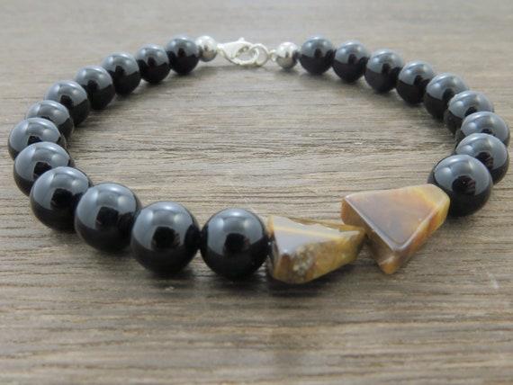 Hot Men Tiger Eye Gemstone Beaded Stretch Elastic Bracelet For Him Gift Jewelry
