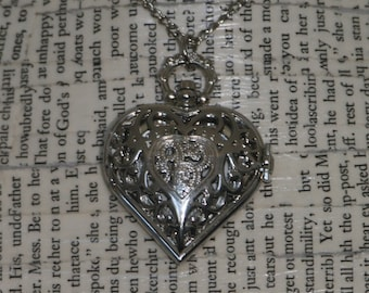 Silver Heart Pocket Watch Necklace